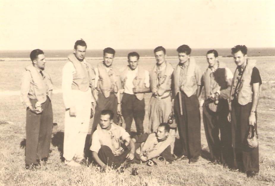 Aircrew Romanian pilot Petre Cordescu Romanian AF with fellow pilots 01