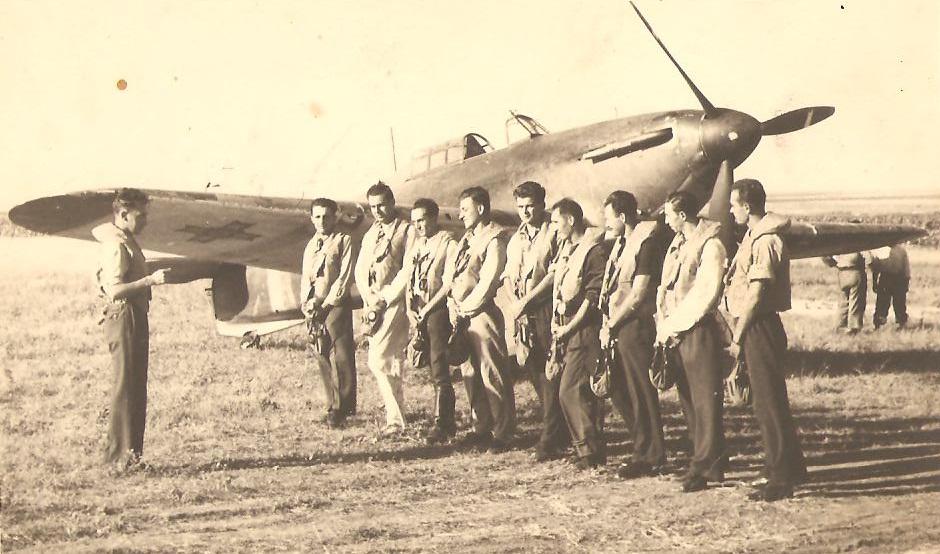 Aircrew Romanian pilot Petre Cordescu Romanian AF with fellow pilots 03
