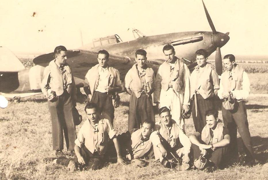 Aircrew Romanian pilot Petre Cordescu Romanian AF with fellow pilots 04