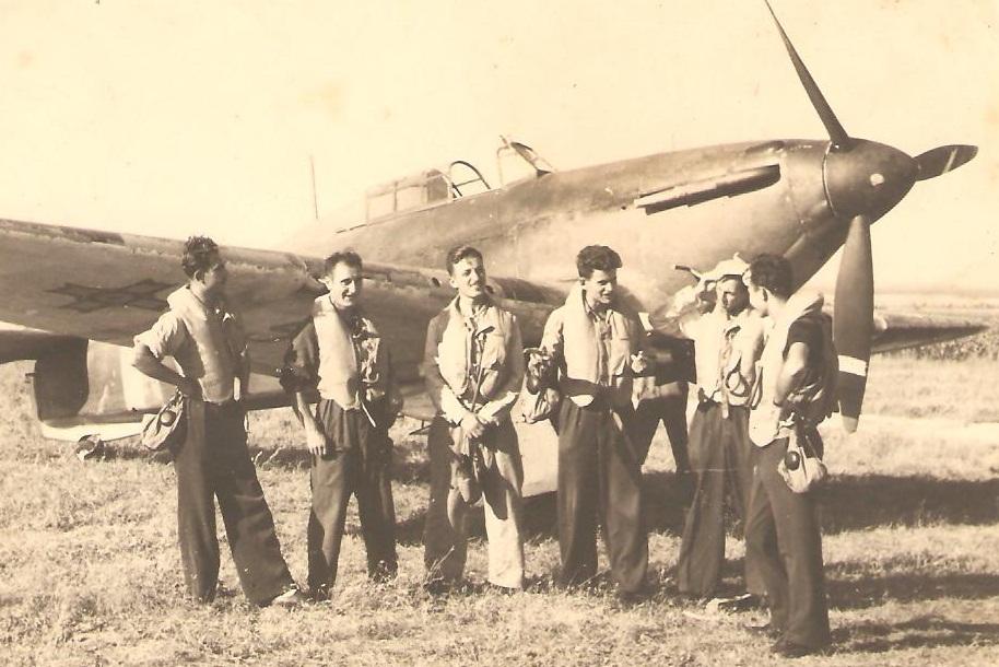 Aircrew Romanian pilot Petre Cordescu Romanian AF with fellow pilots 05