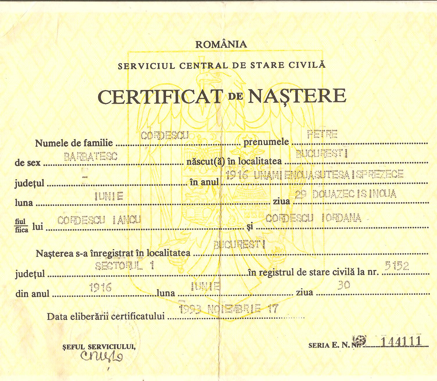 Aircrew Romanian pilot Petre Cordescu Romanian ID papers 01