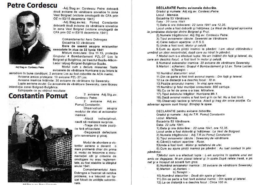 Aircrew Romanian pilot Petre Cordescu petre and Constantin Pomut combat report 0A