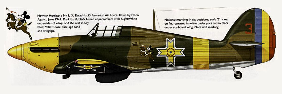 Hawker Hurricane Rumanian AF Esc 3.53 Red 3 Horia Agarici Rumania June 1941 0B