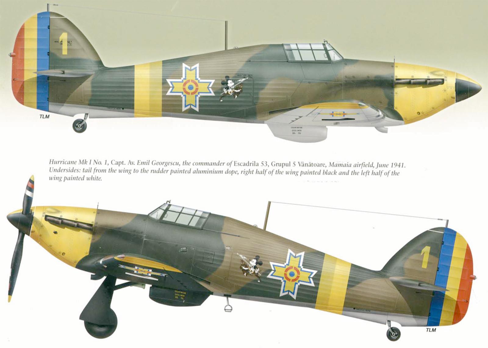Hawker Hurricane Rumanian AF Esc 53 Yellow 1 Horia Agarici Rumania 1941 Mushroom 9111 0A