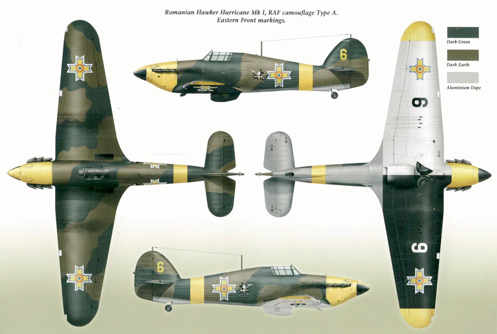 Hawker Hurricane Rumanian AF Esc 53 Yellow 3 Horia Agarici Rumania 1941 Mushroom 9111 0A