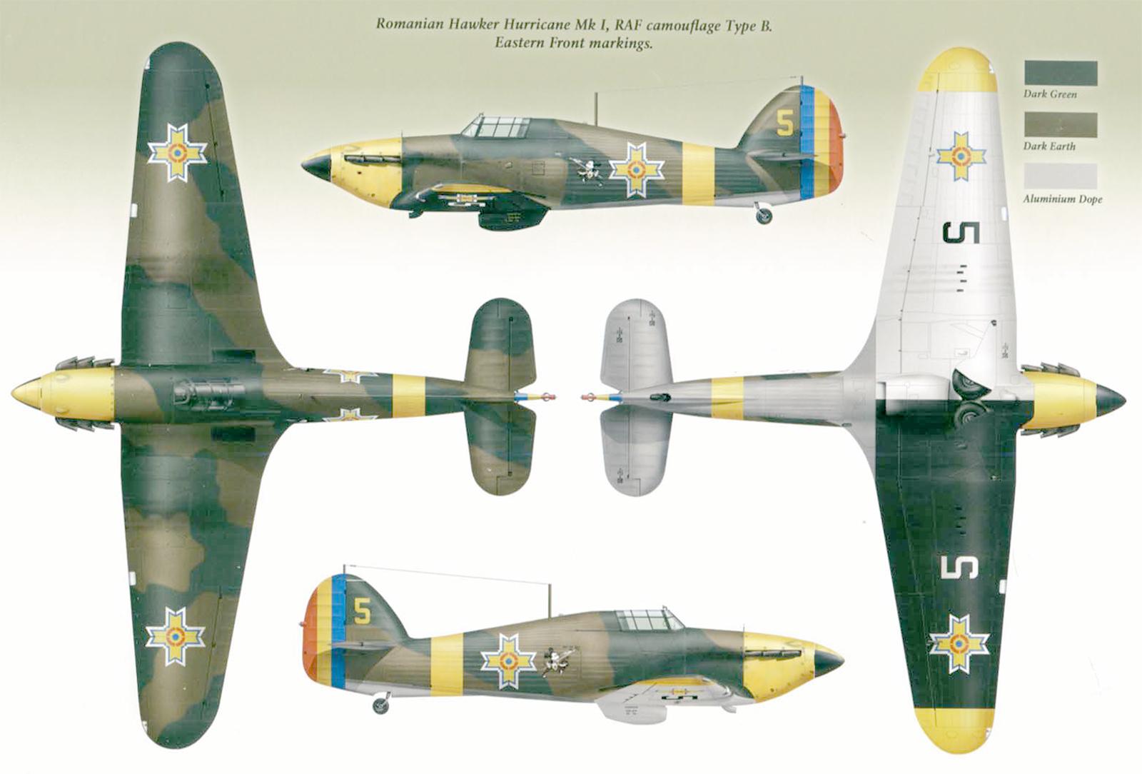 Hawker Hurricane Rumanian AF Esc 53 Yellow 5 Horia Agarici Rumania 1941 Mushroom 9111 0A