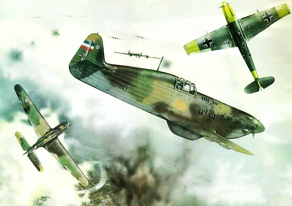 A painting of the Yugoslav Royal Air Force RYAF in combat with the Luftwaffe 0A
