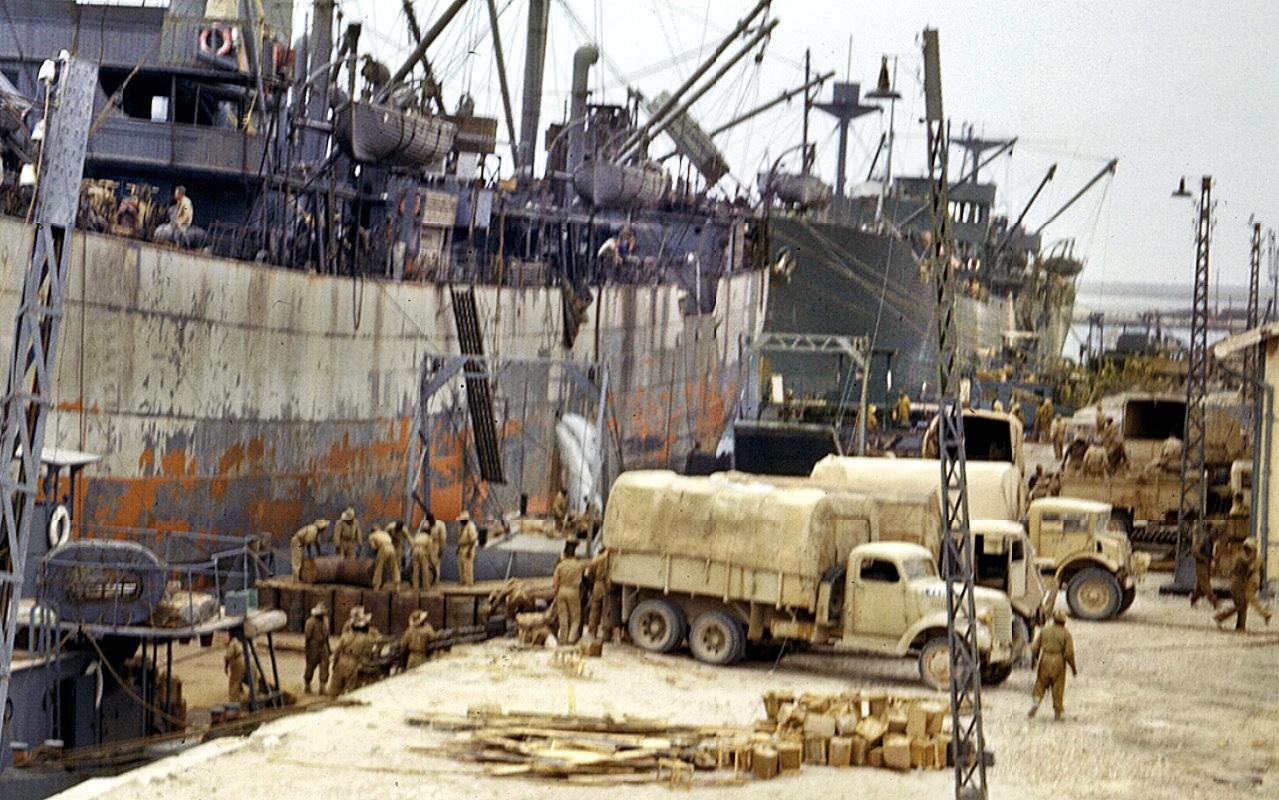 Allied ships unloading supplies Sfax Tunisia spring 1943 01