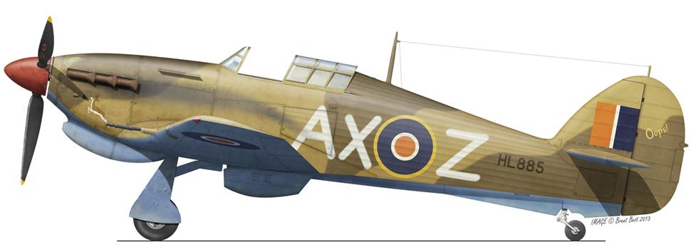 Hawker Hurricane IIb SAAF 1Sqn AXZ Stewart Finney HL885 LG172 Egypt Sep 1942 0A