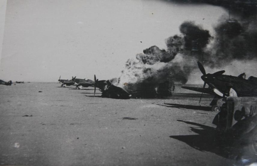 Hawker Hurricane IIb SAAF 1Sqn after being strafed by Italian fighters Sep 1941 02