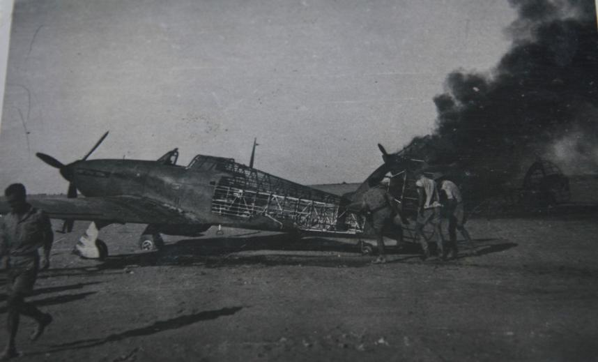 Hawker Hurricane IIb SAAF 1Sqn after being strafed by Italian fighters Sep 1941 03