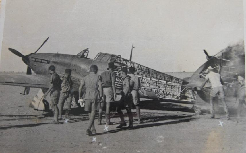 Hawker Hurricane IIb SAAF 1Sqn after being strafed by Italian fighters Sep 1941 04