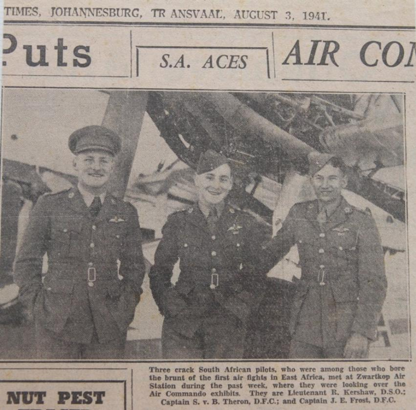 Aircrew SAAF 1Sqn Jack Frost DFC Bob Kershaw DSO and SvB Theron DFC 01