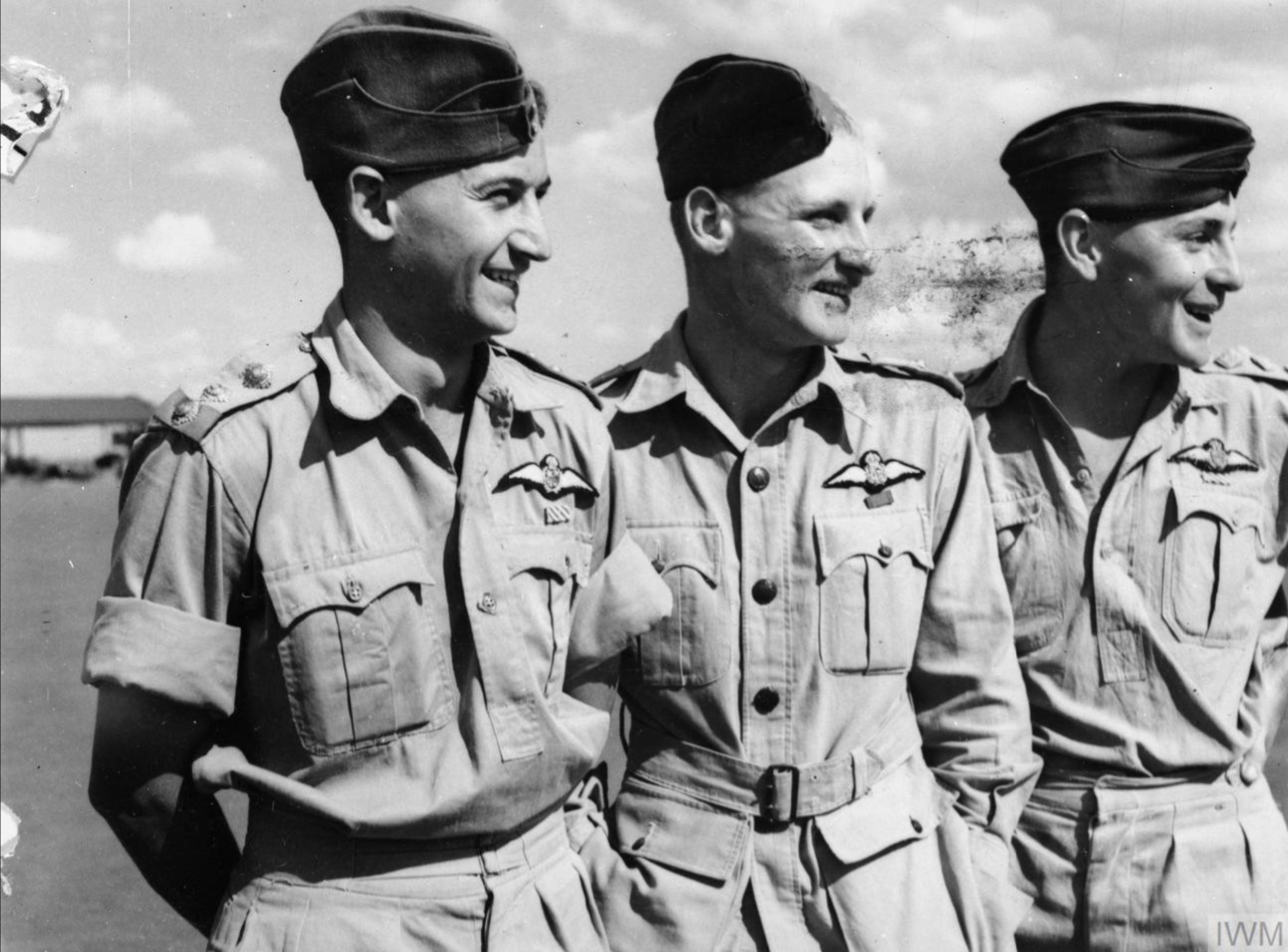 Aircrew SAAF 1Sqn Jack Frost DFC Bob Kershaw DSO and SvB Theron DFC at Addis Ababa Abyssinia IWM E3415