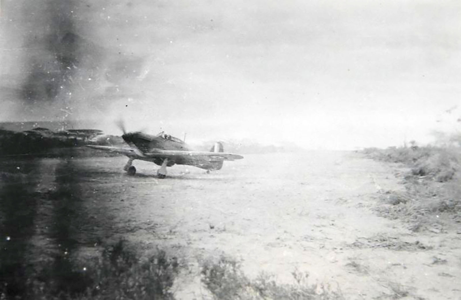 Hurricane I Trop SAAF 3Sqn unknown aircraft taxing Ethiopia East Africa March 1941 01