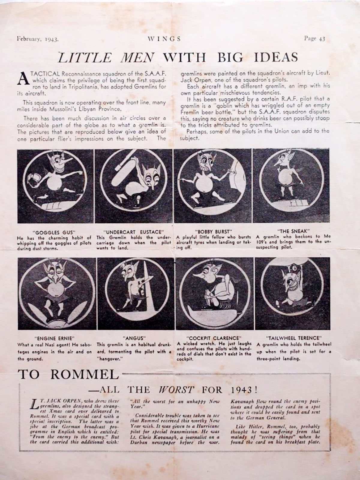Artwork published in the Air Force magazine Wings in Feb 1942 0A