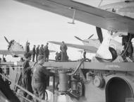 Asisbiz Fleet Air Arm Sea Hurricane A AF953 landing aboard HMS Avenger 27th Jun 1942 IWM A10974