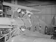 Asisbiz Fleet Air Arm Sea Hurricane with Arm Fitters at NAS Hednesford Staffordshire 16th Nov 1944 IWM A26449