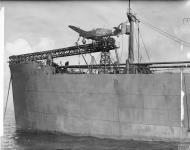 Asisbiz MSFU Sea Hurricane I NJL V6756 aboard a CAM ship Catapult Armed Merchant Greenock IWM A9421