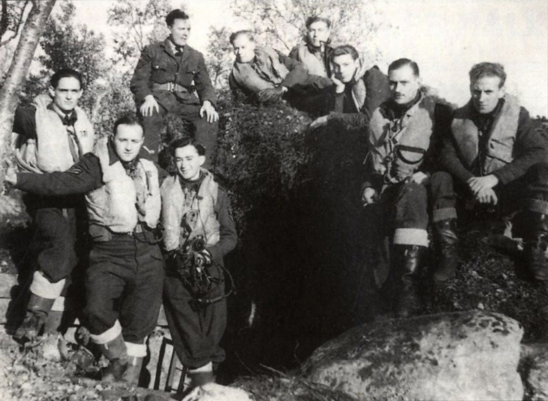 Aircrew RAF Pilots of 134 Sqn outside the shelter at Veanga in September 1941 01