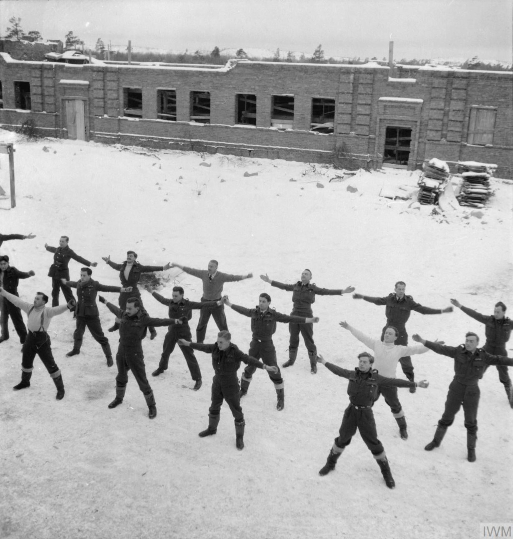 Aircrew from RAF 151 Wing doing their morning PT exercises Vaenga Murmansk USSR 1941 IWM CR142