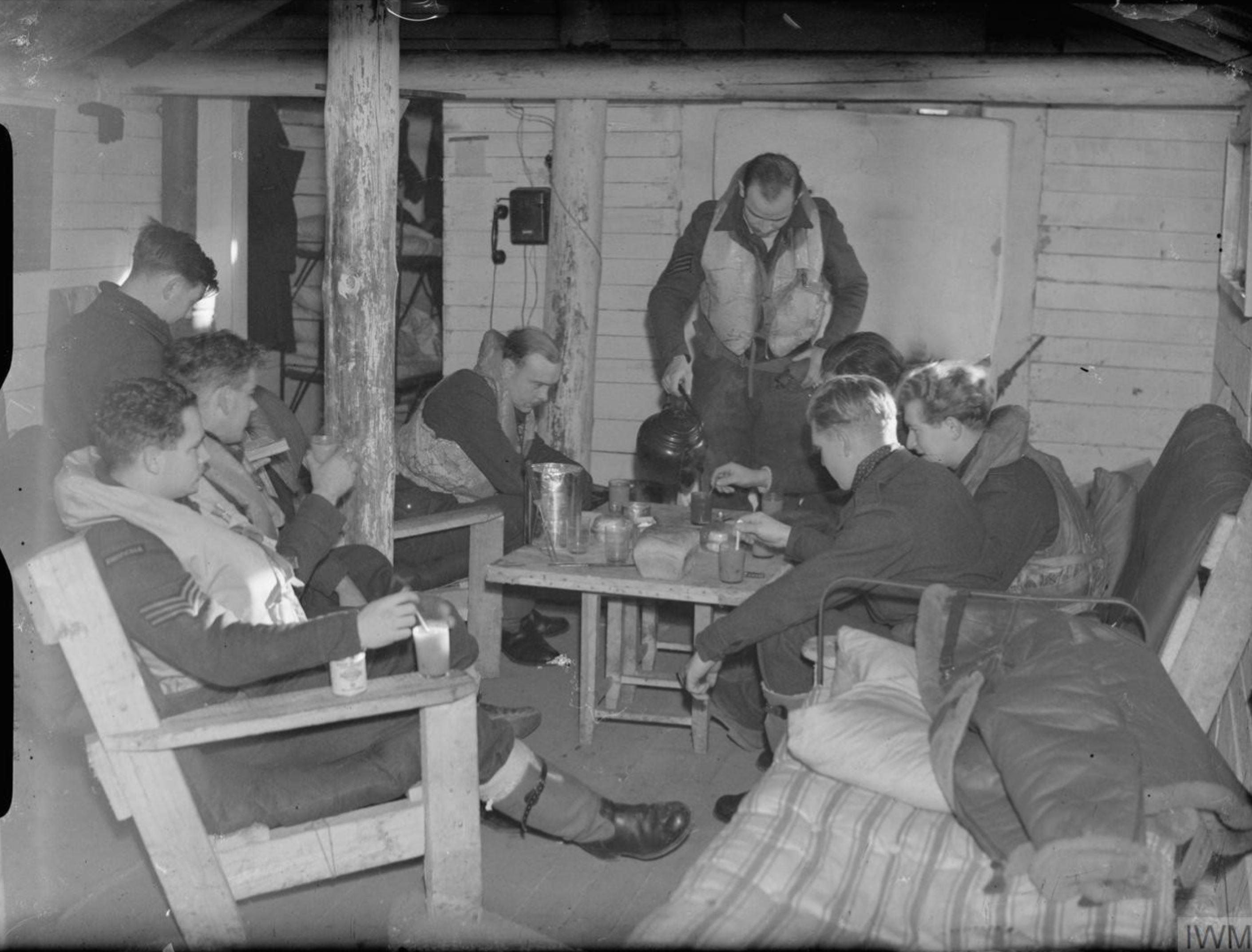 Aircrew from RAF 151 Wing in their barracks Murmansk Vaenga USSR 1941 IWM CR91