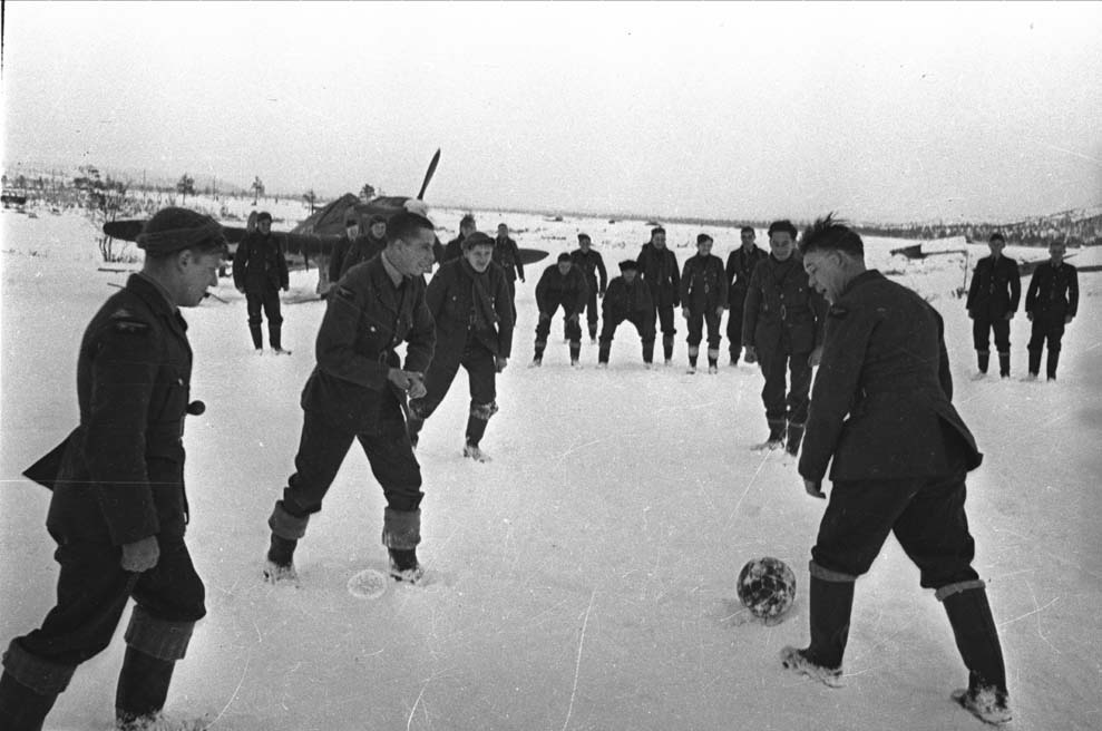 Aircrew from RAF 151 Wing playing a game of football Vaenga USSR 1941 01