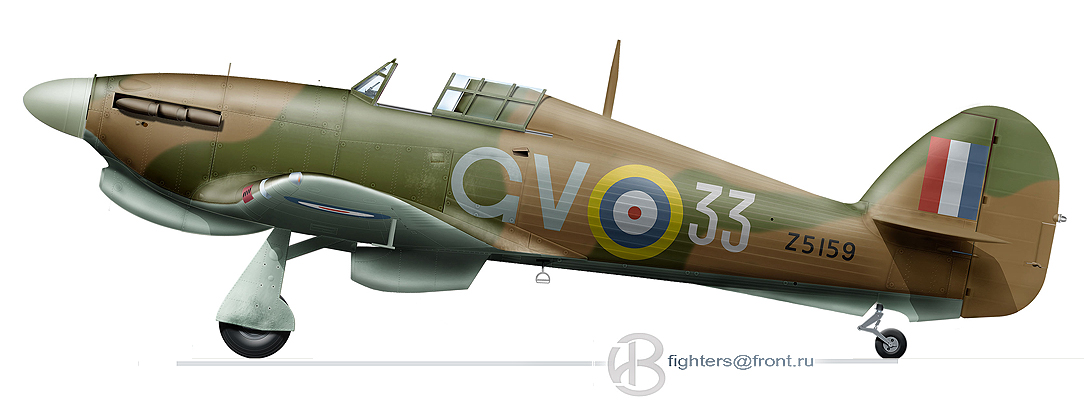Hurricane IIb Trop RAF 151 Wing 134Sqn GV33 Charles M Ramsay Z5159 Vaenga USSR Oct 1941 0A