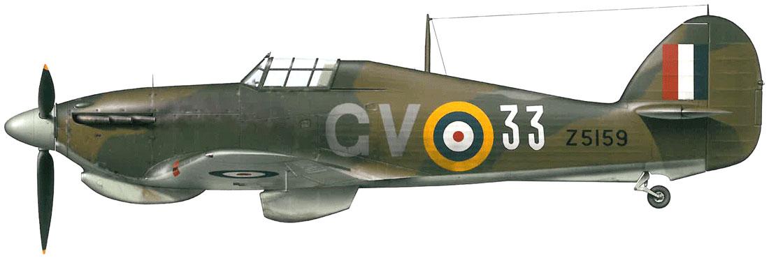 Hurricane IIb Trop RAF 151 Wing 134Sqn GV33 Charles M Ramsay Z5159 Vaenga USSR Oct 1941 0B