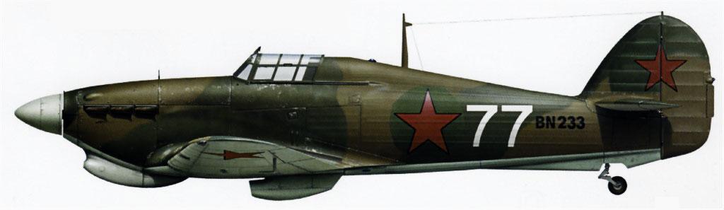 Hurricane IIb Trop USSR 78IAP White 77 exRAF BN233 Maj Boris Safonov Vaenga 1942 0A