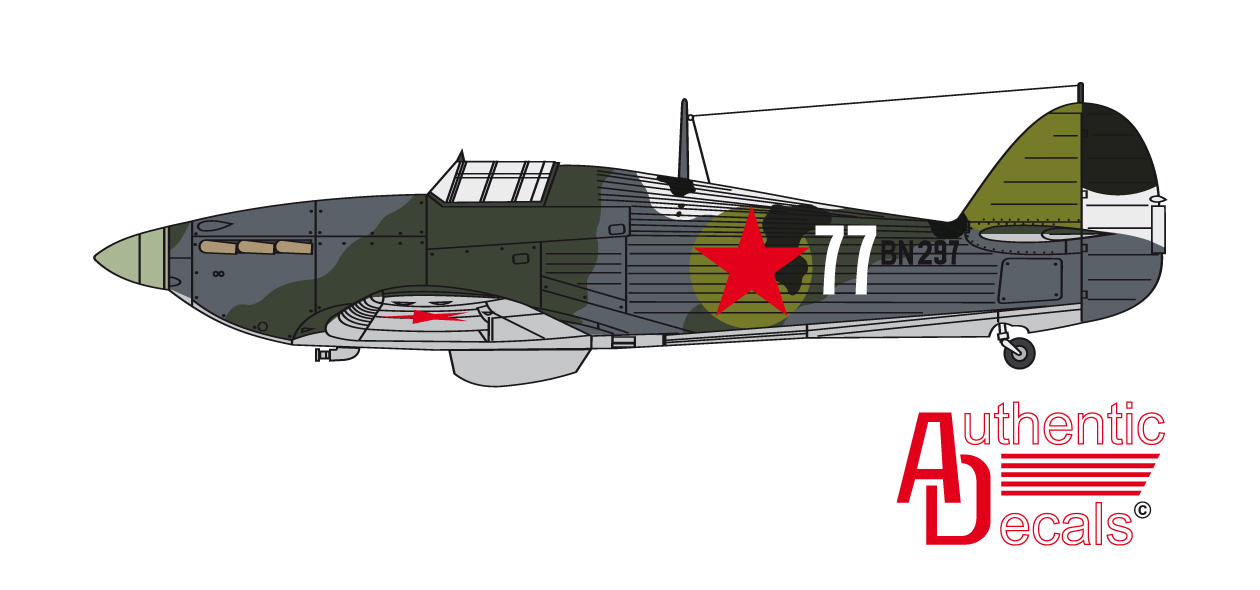 Hurricane IIb Trop USSR 78IAP White 77 exRAF BN233 Maj Boris Safonov Vaenga 1942 0b