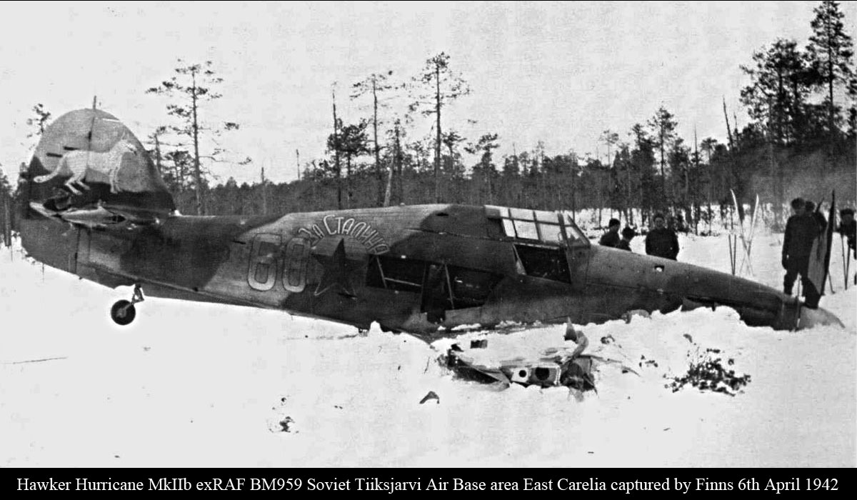 Hurricane IIb USSR 609IAP W60 BM959 Soviet Tiiksjarvi Air Base area East Karelia captured by Finns 6th April 1942 01