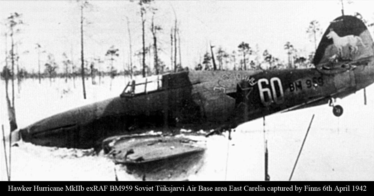 Hurricane IIb USSR 609IAP W60 BM959 Soviet Tiiksjarvi Air Base area East Karelia captured by Finns 6th April 1942 02