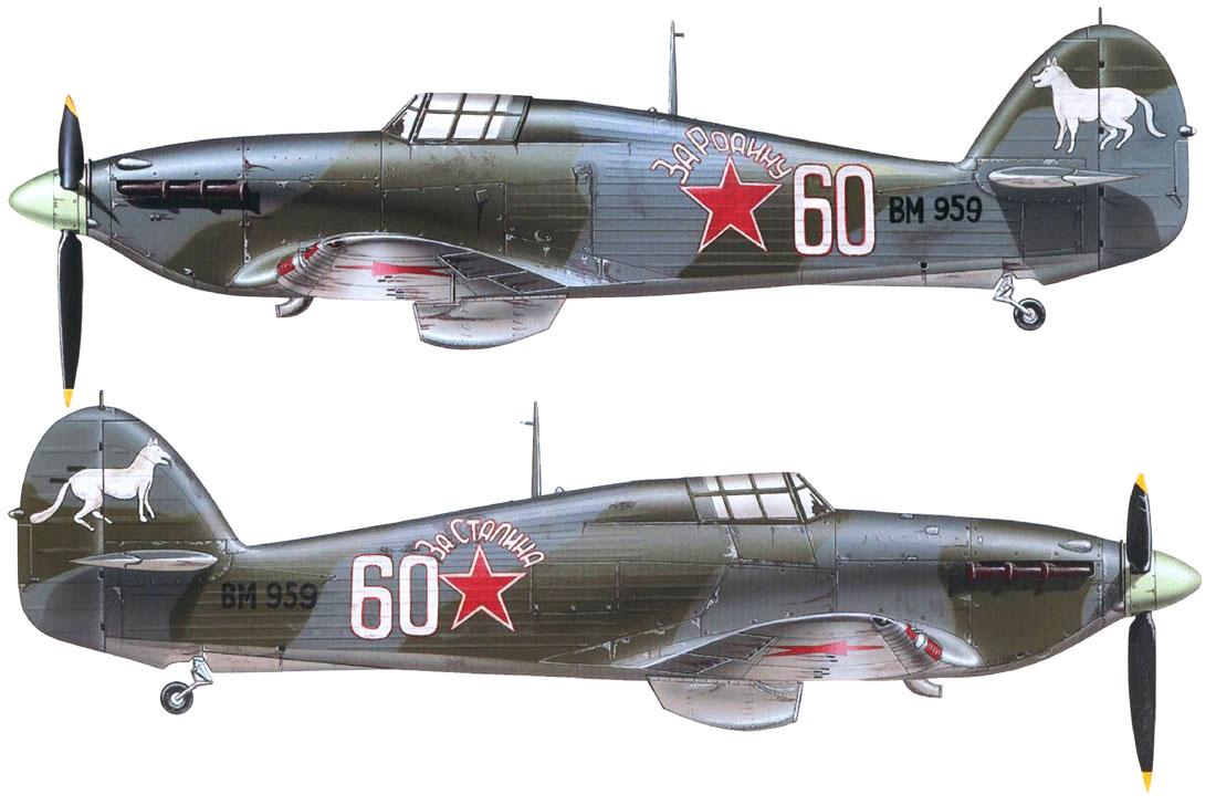 Hurricane IIb USSR 609IAP White 60 Lt Ivan Babanin exRAF BM959 April 1942 0B