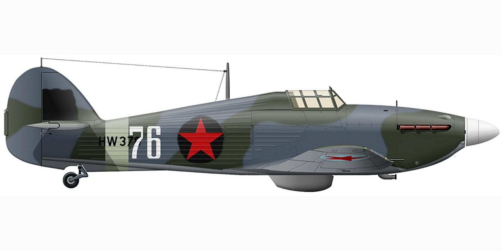 Hurricane IIb USSR 78IAP Northern Fleet White 76 NT Starosvetsky exRAF HW370 Vaenga Mar 1943 0A