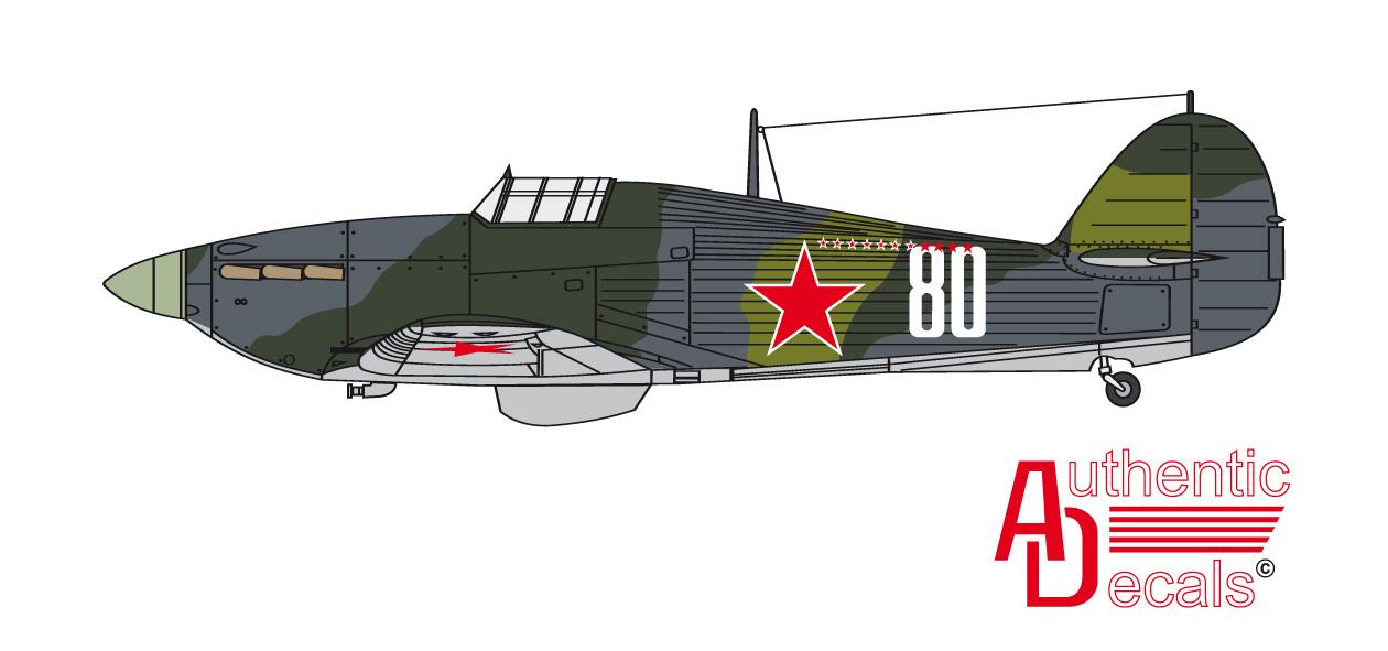Hurricane USSR 78IAP VVS SF pilot GSS kn V.S. Adonkin 1943 0A