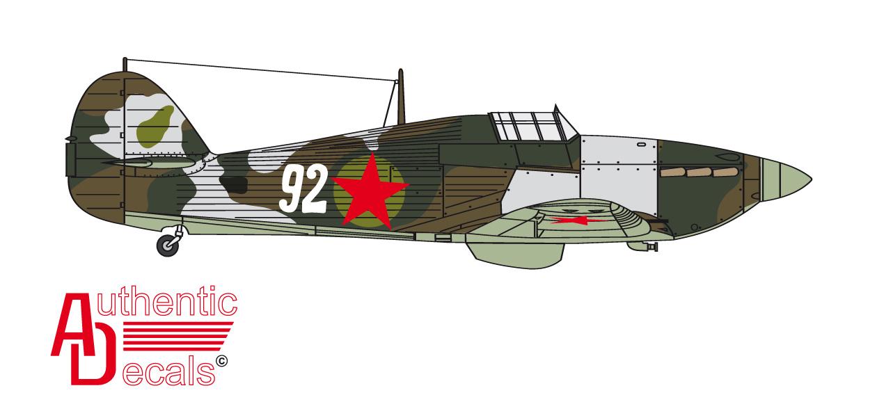 Hurricane USSR 78IAP or 2Giap VVS SF White 92 Russia 1942 0A