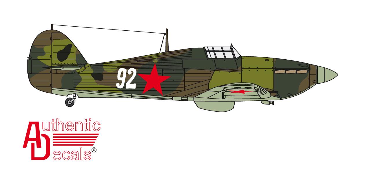 Hurricane USSR 78IAP or 2Giap VVS SF White 92 Russia 1942 0B