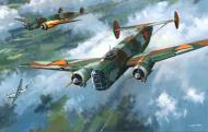 Asisbiz RNLAF Luchtvaartbrigade Fokker T.V bombers painting depicting air war over Holland web 0A