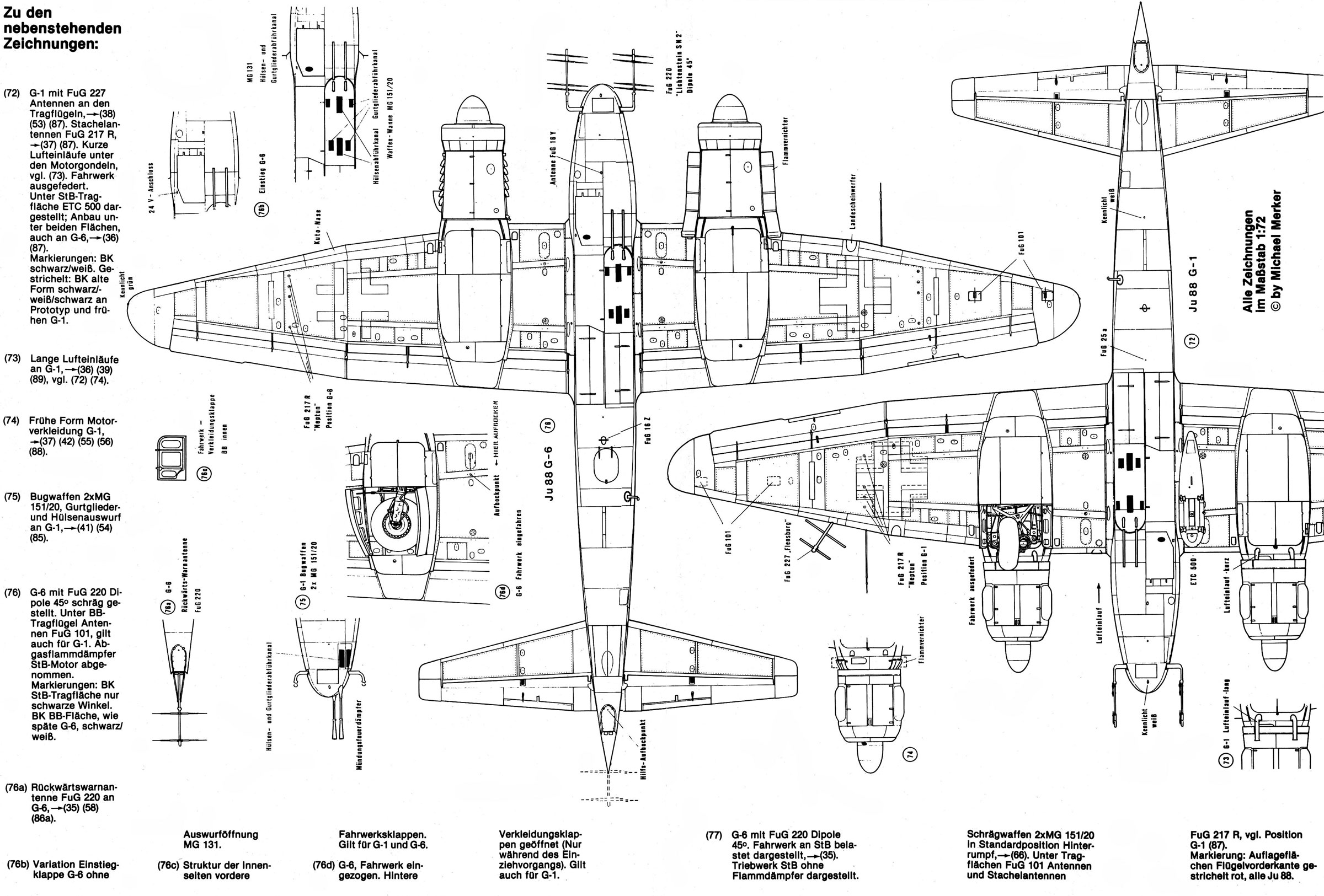 asisbiz artwork technical drawing junkers ju 88 cutaway 0b