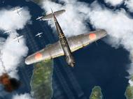 Asisbiz IL2 GB Ki 100 59 Sentai W153 attacking profile view over Japan V01