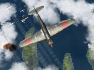 Asisbiz IL2 RO Ki 100 59 Sentai W47 attacking profile view over Japan V01