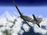 Asisbiz IL2 TF Ki 100 59 Sentai W177 dives on a 20AF B 29 formation over Japan V01