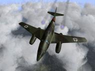 Asisbiz IL2 HM Me 262 Stab III.JG7 Blue 1 Rudolf Sinner overhead profile view V02
