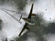 Asisbiz IL2 HS Me 262A 1.JG7 White 2 Erich Hohagen climbing over B 17s Reich V02
