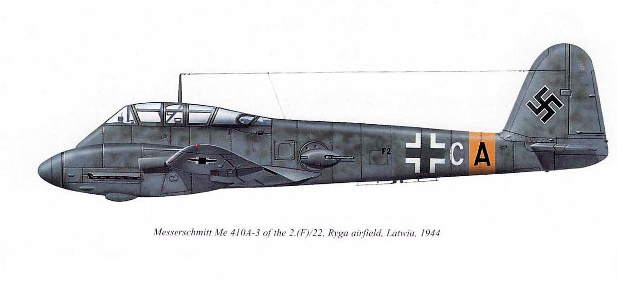 Messerschmitt Me 410A3 Hornisse 2.(F)22 (F2+CA) Ryga AF Latvia 1944 0A