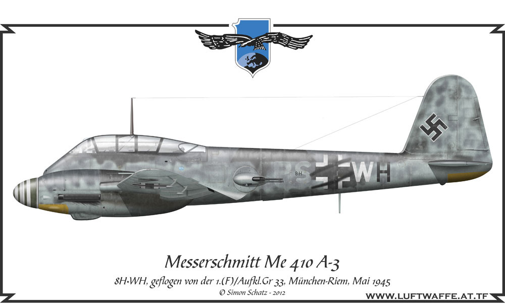 Me 410A3 1(F).AG33 (8H+WH) Munchen Riem May 1945 0A