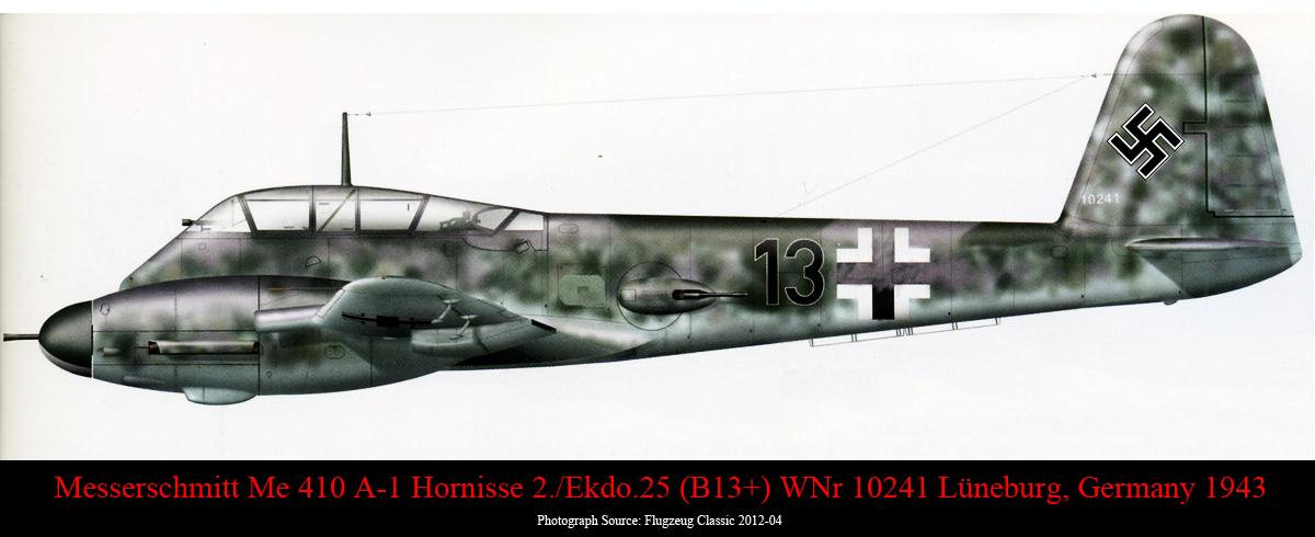Messerschmitt Me 410A1 Hornisse 2.Ekdo25 Black 13 WNr 10241 Luneburg 1943 0A