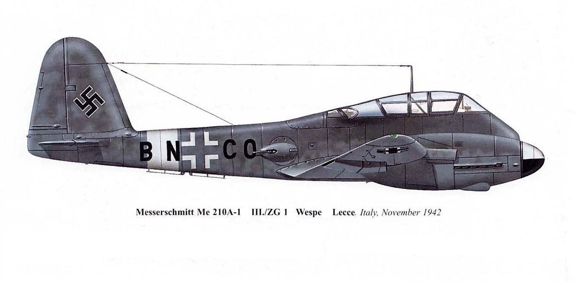 Messerschmitt Me 210A1 3.KG1 (BN+CO) Lecce Italy 1942 0A