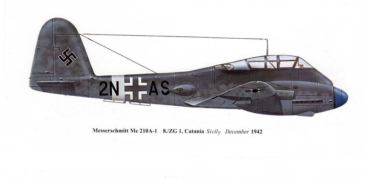 Messerschmitt Me 210A1 Hornisse 8.KG1 (2N+AS) Sicily 1942 0A